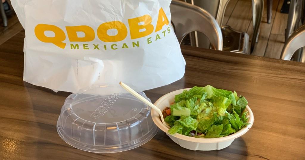 Qdoba bag and bowl