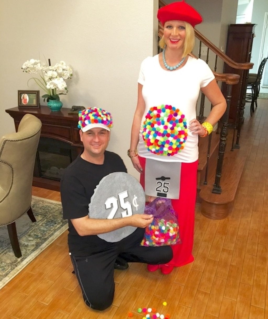 couple wearing gumball machine