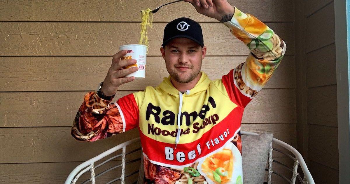 man wearing a ramen noodles hoodie