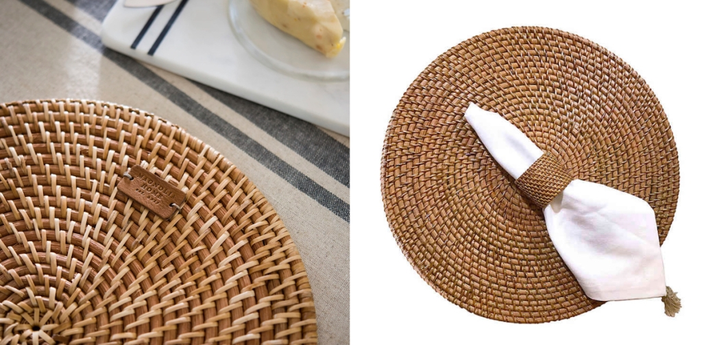 two rattan placemats