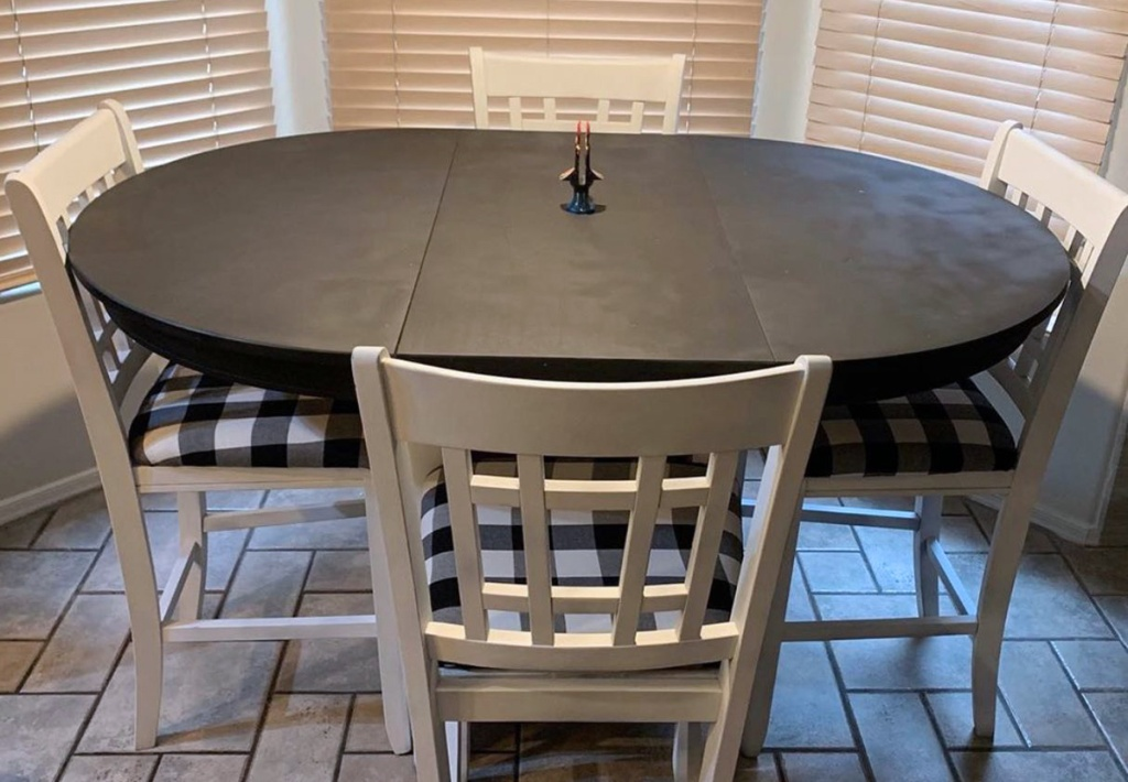 tables and chairs refinished from thrift store