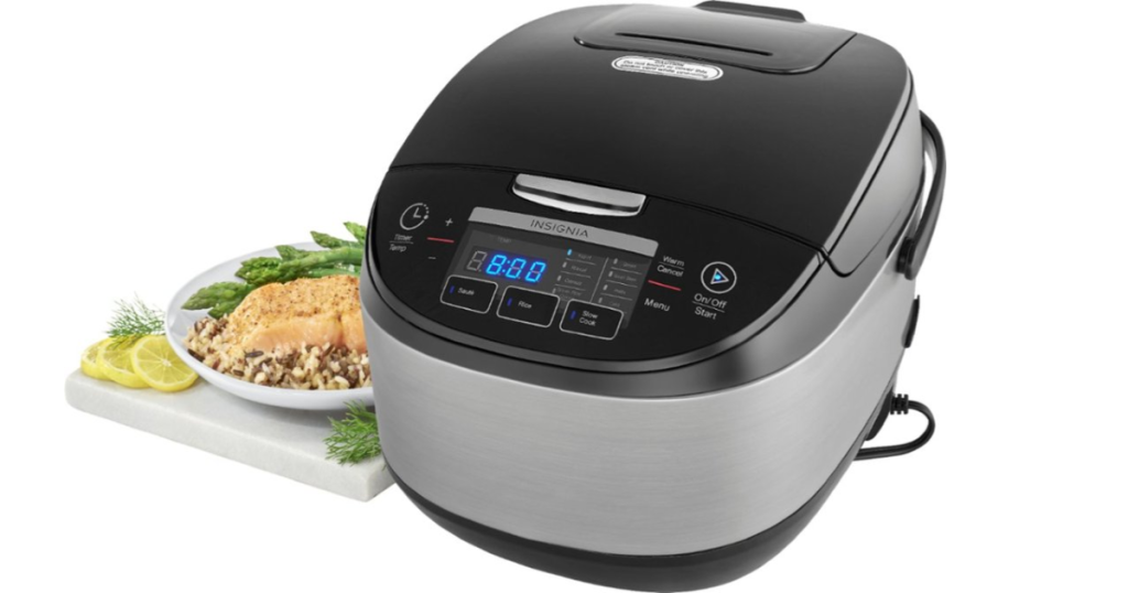 rice cooker on counter with food
