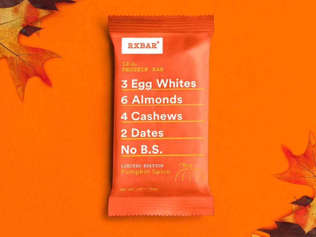 rxbar pumpkin spice with orange background and leaves