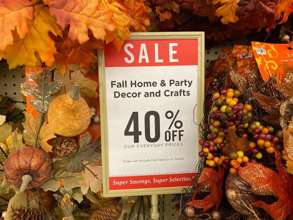 hobby lobby sale sign for fall home decor