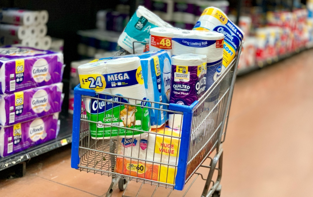 shopping cart with toilet paper brands