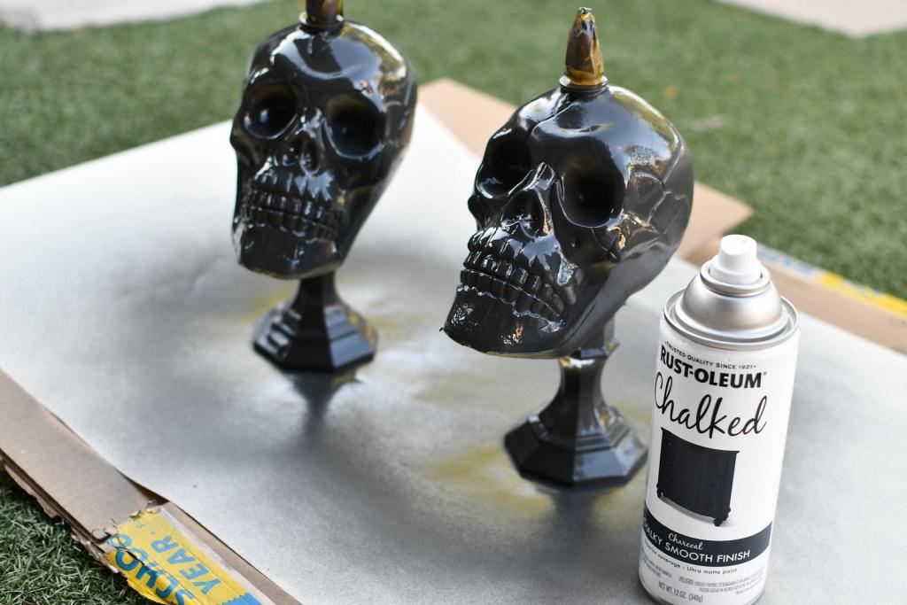 spray painted Halloween skulls