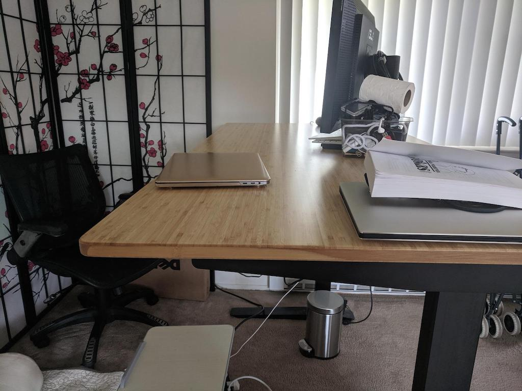 standing computer desk with wood top