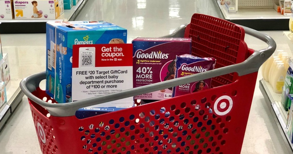 goodnites bedtime pants in a shopping cart at target