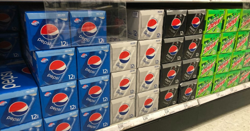 pepsi and mountain dew soda 12 packs on shelf at target