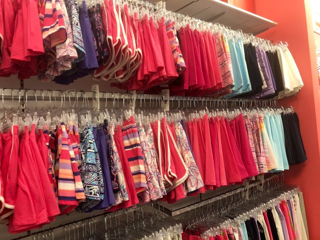 Rows of girl's shorts at The Children's Place