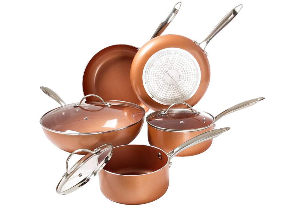stock image of copper cookware set