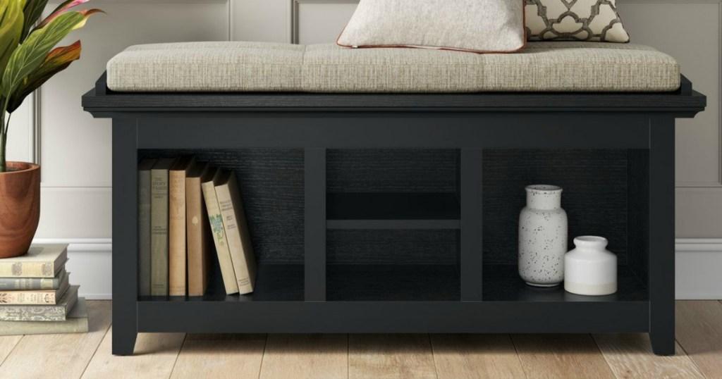 black storage bench with cubbies