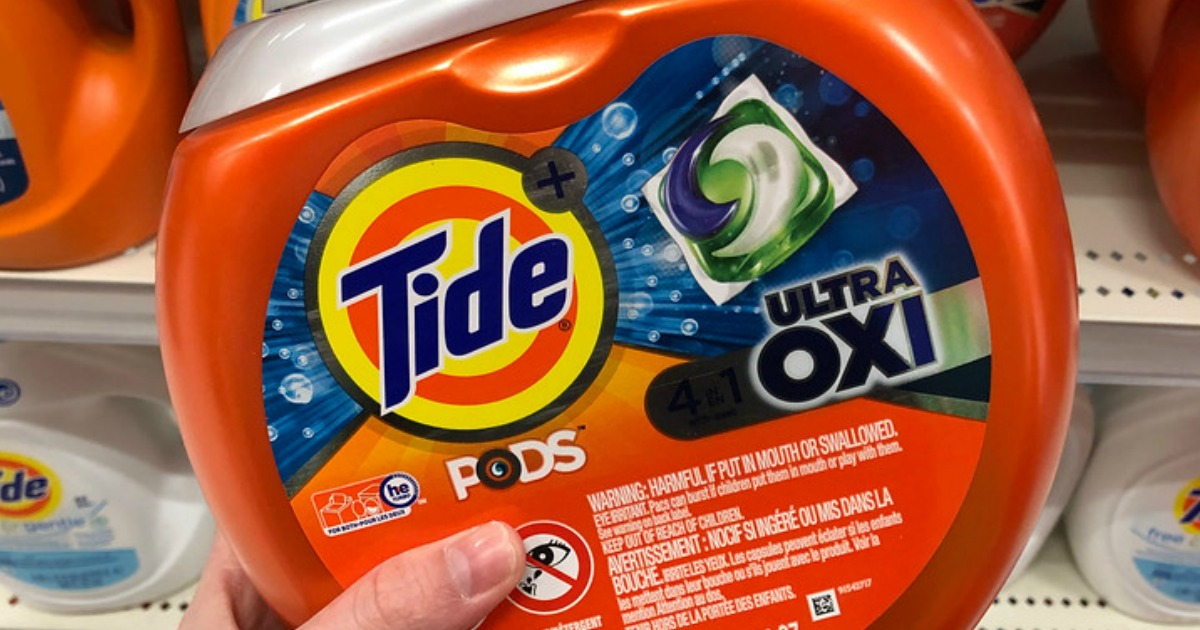 closeup of tide pods ultra oxi container