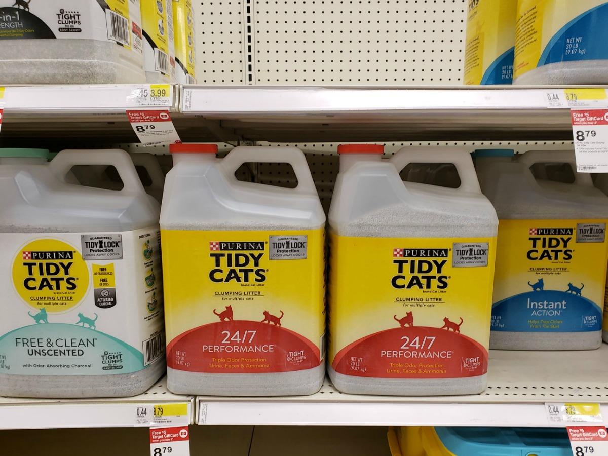 jugs of tidy cat litter on target shelf