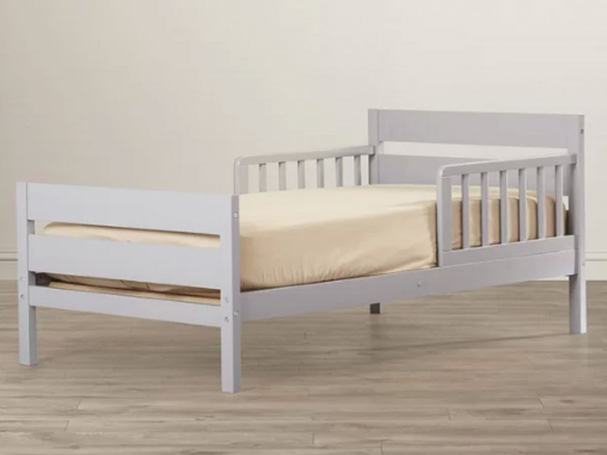 toddler bed in room white