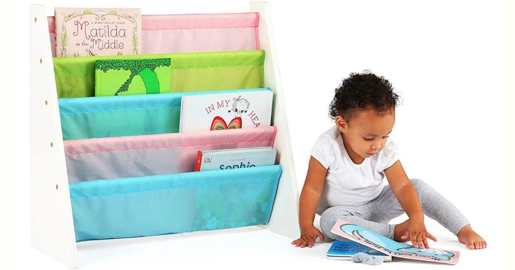pastel book shelf with kid reading book
