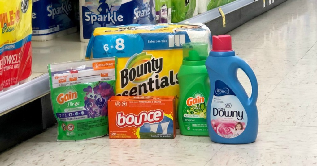 gain flings, laundry detergent, bounce dryer sheets, downy fabric softener and bounty essentials paper towels at walgreens