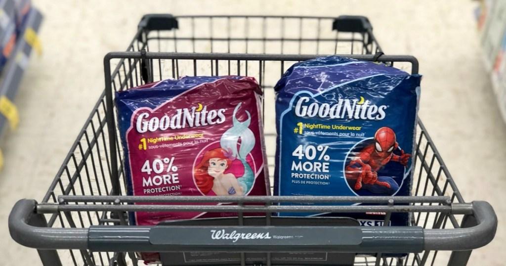goodnites bedtime pants in shopping cart at walgreens