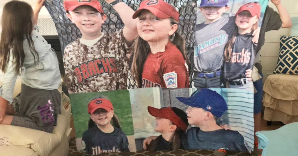 Walgreens Plush photo blanket with boy and girl