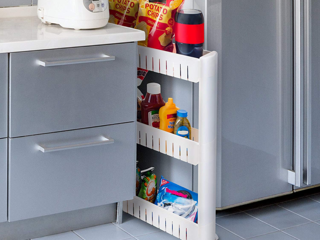mobile shelving unit used between cabinets