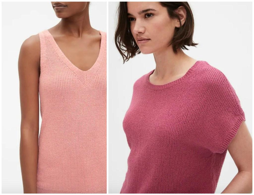 women wearing pink GAP sweaters