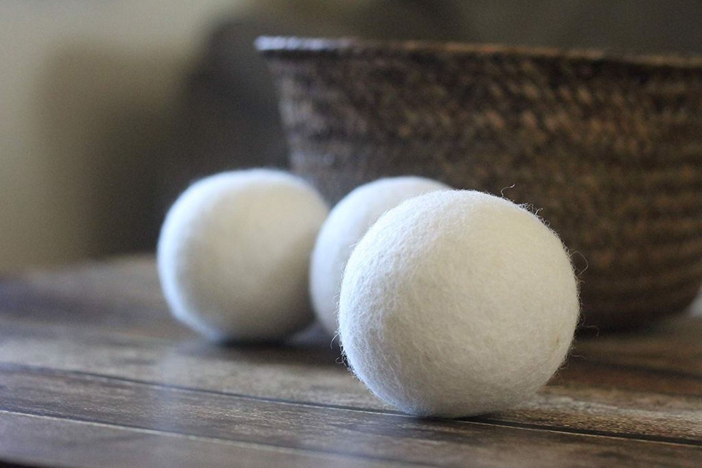 wood dryer balls on a table