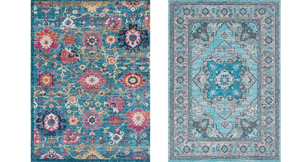 two patterned rugs