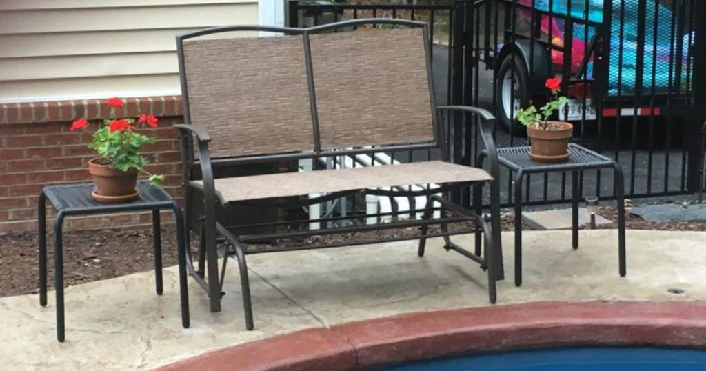 2-person patio loveseat glider by pool