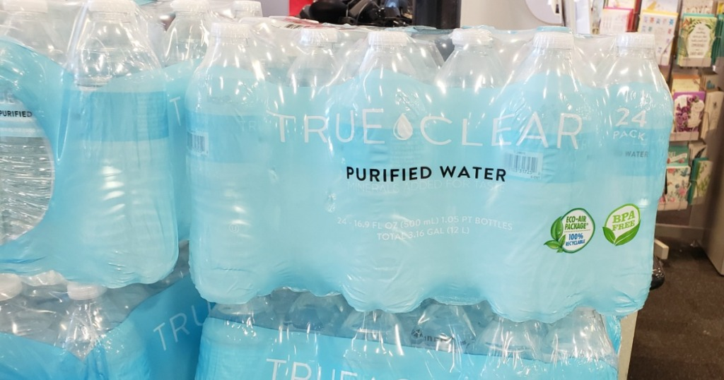 24 pack of True Clear Purified Bottled Water at Staples store