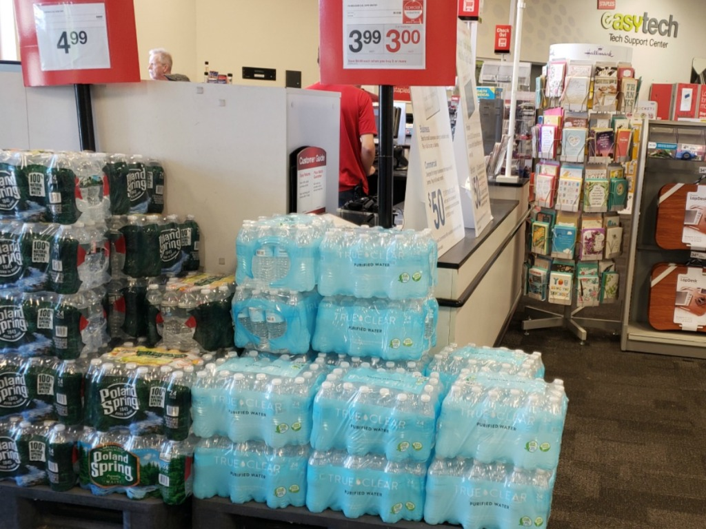 Store display of 24 pack of True Clear Purified Bottled Water