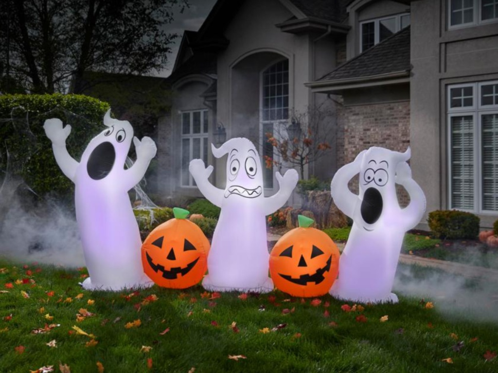 9 ft. Long Pre Lit Inflatable Pumpkin and Ghost Collection Scene Airblown