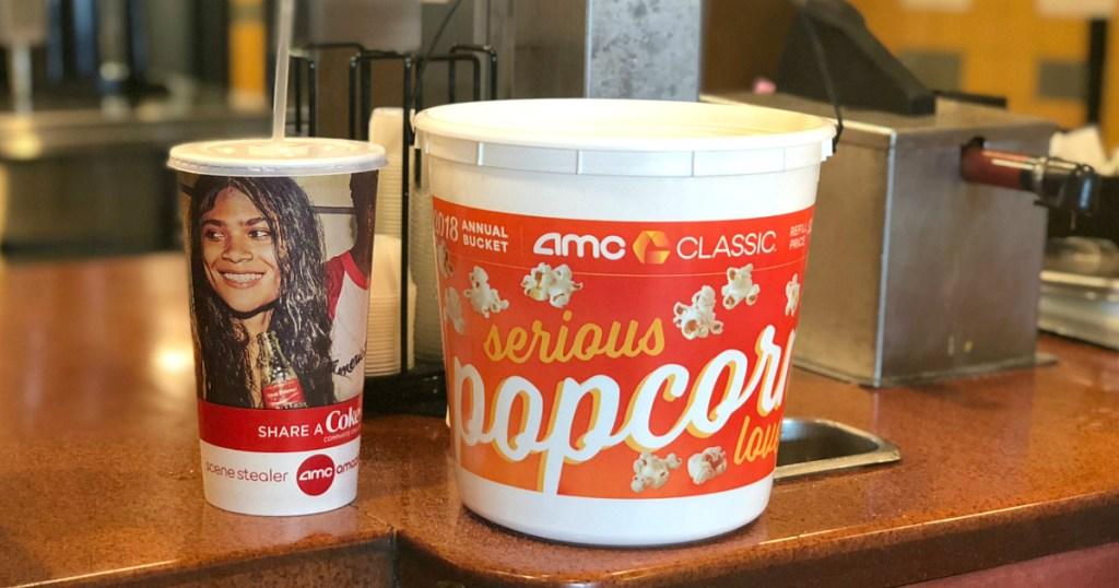 AMC movies drink and popcorn