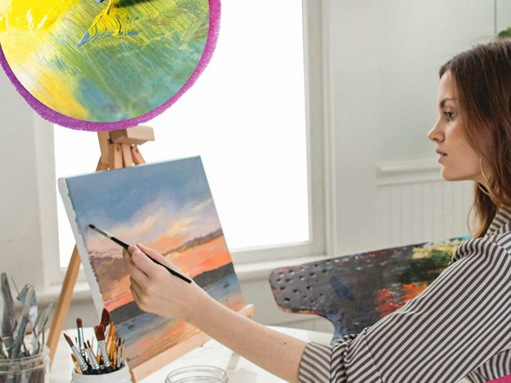 lady painting with acrylic paints