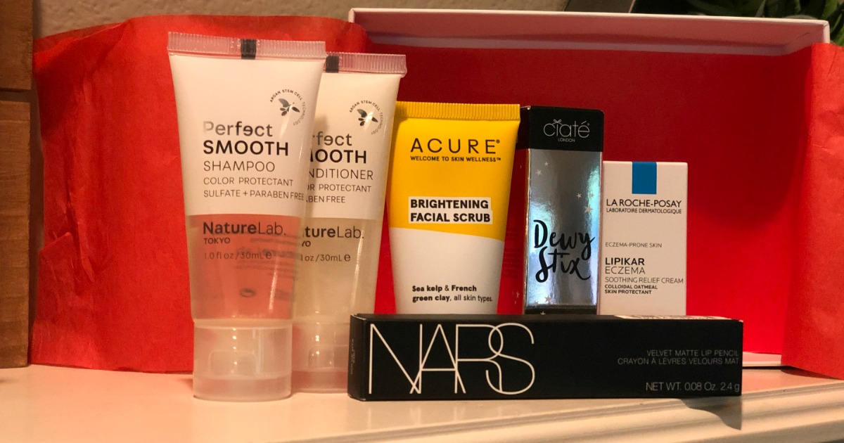 Allure September Beauty Box products on shelf