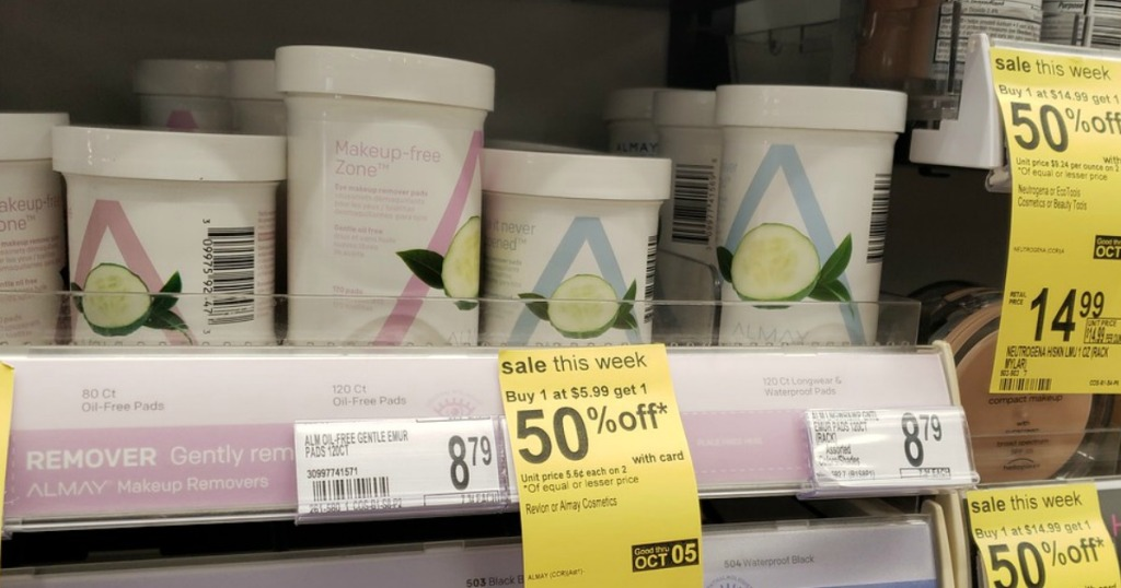 Almay Makeup Remover Wipes on Walgreens shelf