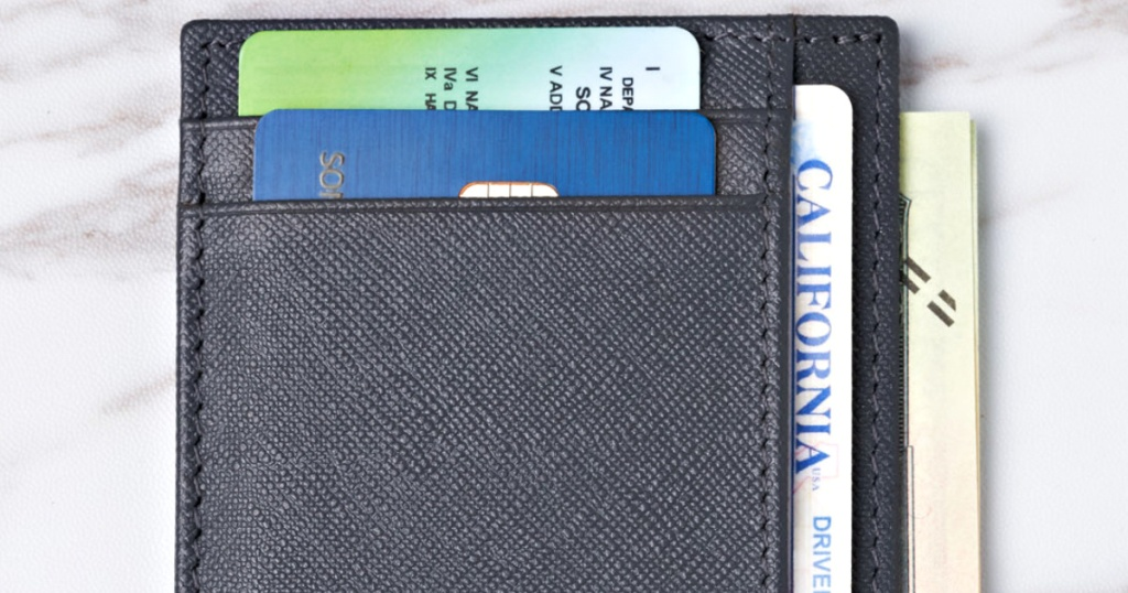 navy blue alpine swiss wallet with cards inside