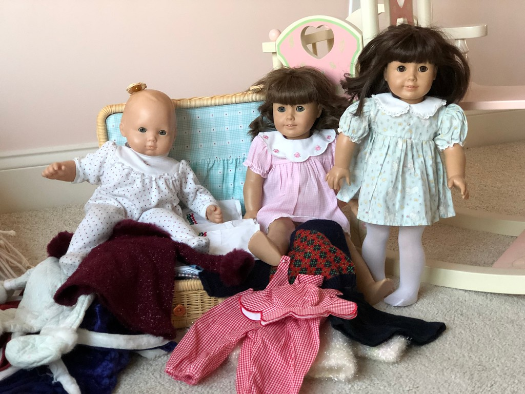 American Girl Baby and Dolls Playing