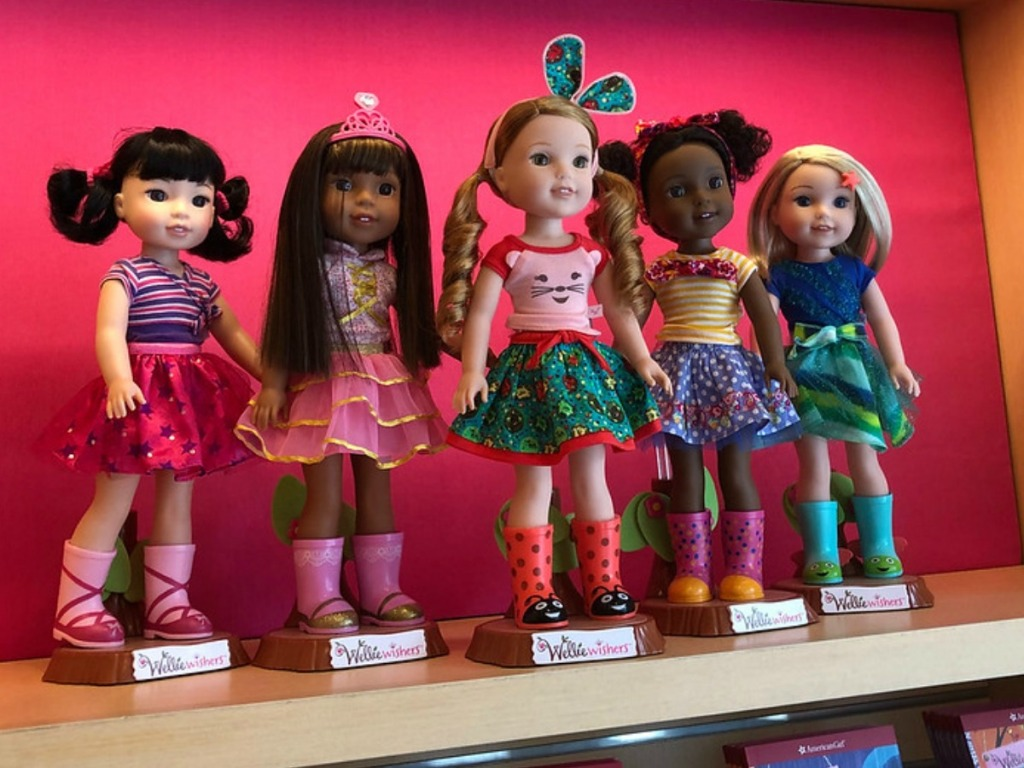 America Girl Wellie Wishers Dolls - 5 in a row