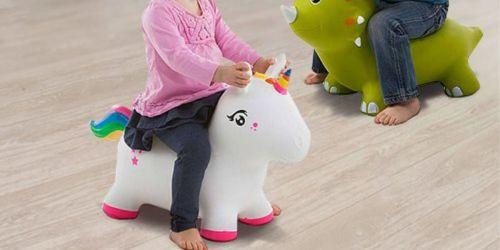 Jump-Along Ride-On Toys Only $17.99 at Zulily   Unicorn, Dinosaur, Monkey & Bunny