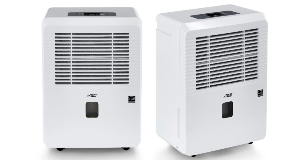 front and side view of white artic king dehumidifier