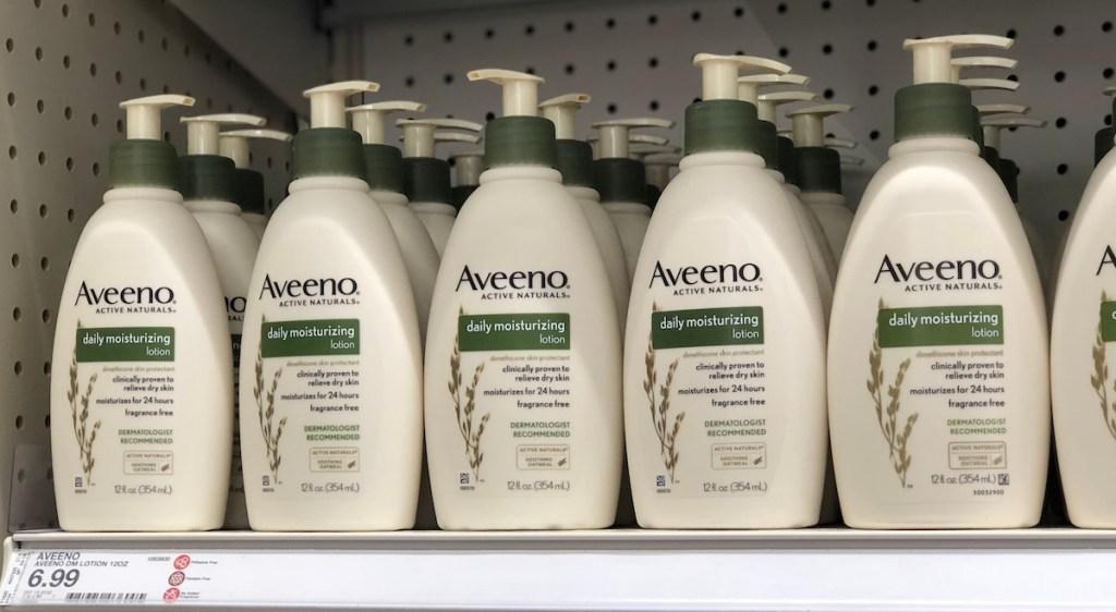 Aveeno Lotion on shelf at Target