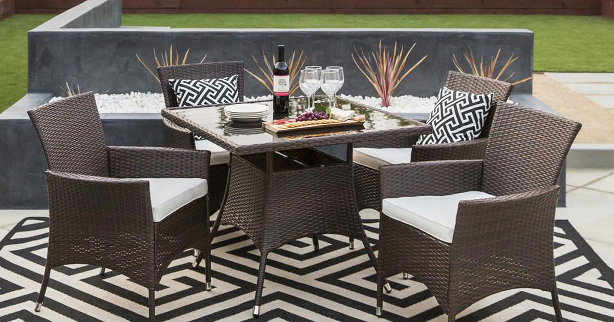 5 Piece Outdoor Wicker Dining Set Just 279 99 Shipped