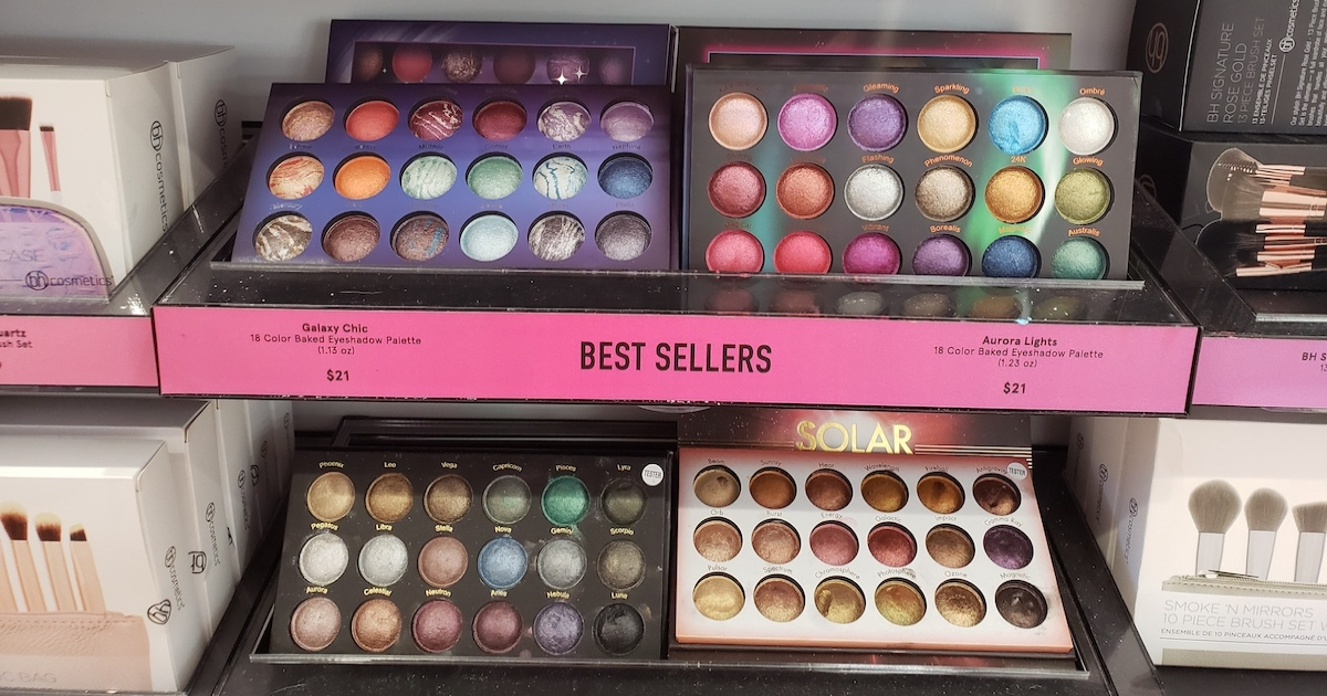 BH COSMETICS Galaxy Chic Baked Eyeshadow Palettes on shelf in store