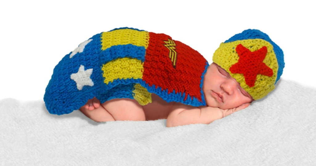 baby wearing crochet wonder woman costume