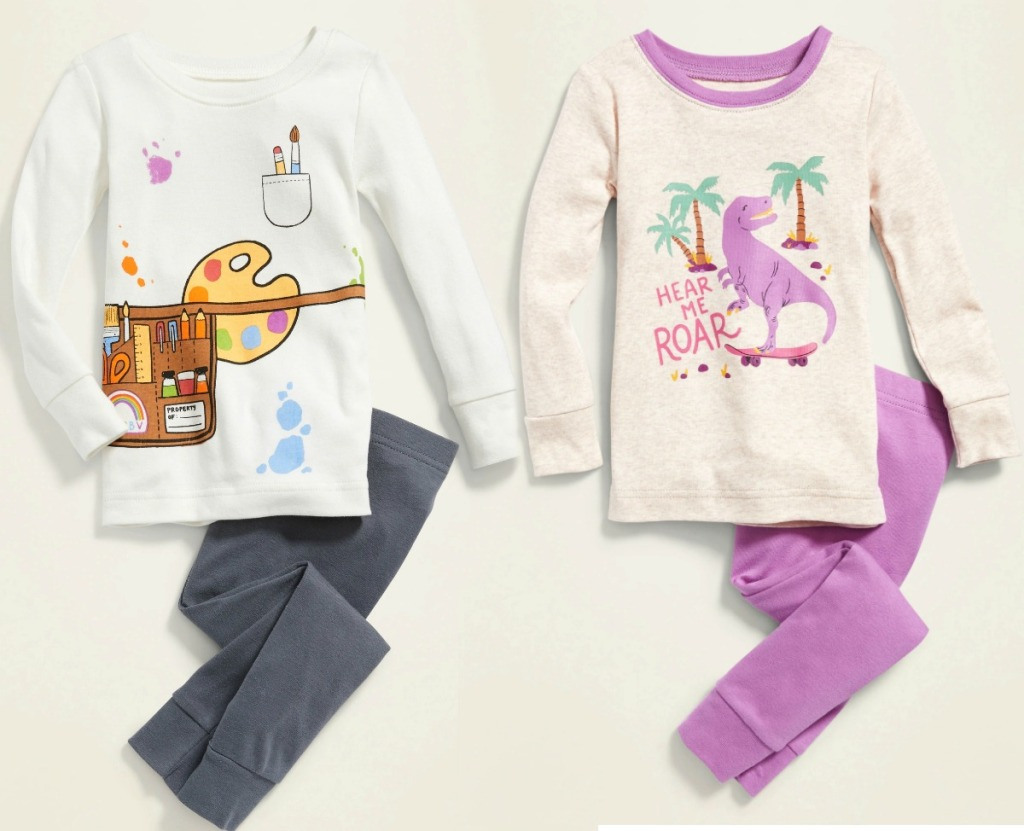 Two styles of baby girls pajamas from old navy
