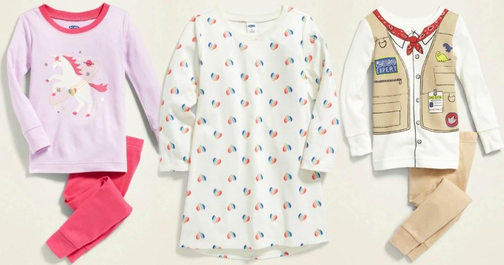 Three styles of Old Navy Baby Pajamas