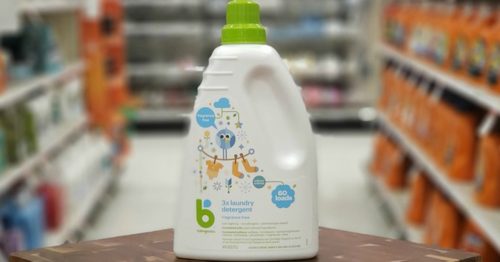 Single bottle of babyganics laundry detergent on wooden surface in store in Target