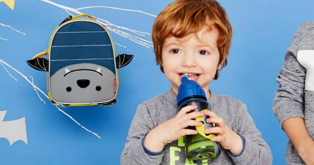 Kid with Bailey Bat Skip Hop Lunch Box and Water Bottle