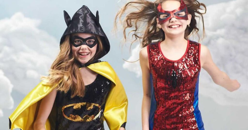Batgirl sequin and spiderman sequin dresses