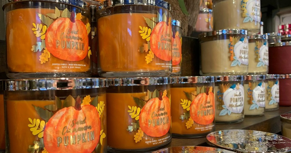 Bath & Body Works fall candles on the shelves